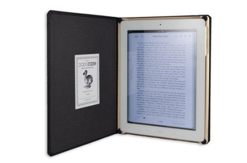 DODO-Case für iPad 2 handgefertigte, leinengebundene, Echt-Holz Buchbinder-Hülle, mit Magnet, schwarz/graphit