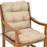 Beautissu Flair NL Cojín para sillas/Asiento Exterior con Respaldo bajo 100x50x8 cm - Relleno de Copos de gomaespuma - Natural