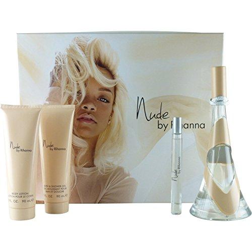 Nude by Rihanna by Rihanna Gift Set -- 3.4 oz Eau De Parfum Spray + 3 oz Body Lotion + 3 oz Shower Gel + .33 oz Mini EDP Spray for Women by Rihanna