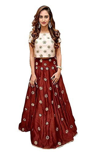 Bhakti Creation Maroon Silk Cotton Women\'s Lehenga Choli (13_Free Size)