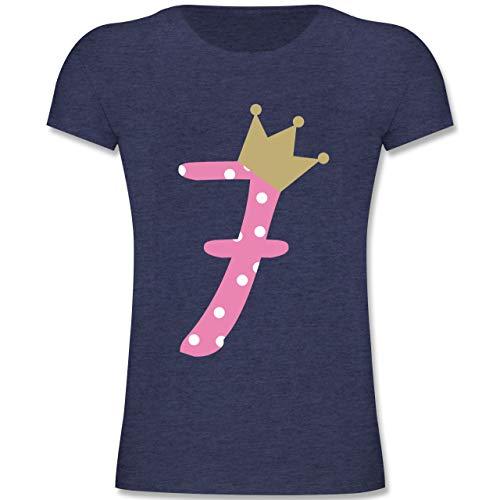 Geburtstag Kind - 7. Geburtstag Krone Mädchen - 128 (7-8 Jahre) - Dunkelblau Meliert - F131K - Mädchen Kinder T-Shirt (9 Jahre Alt-geschenk-ideen)