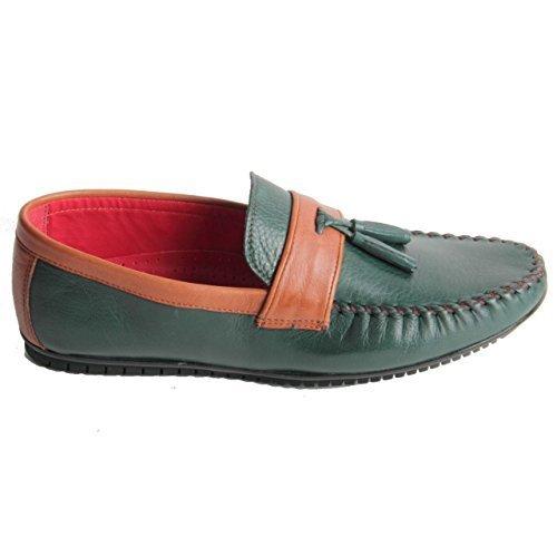 Pour Hommes En Cuir Véritable Mocassins À Enfiler Lourd Couture Gland Chaussures Bout Vert