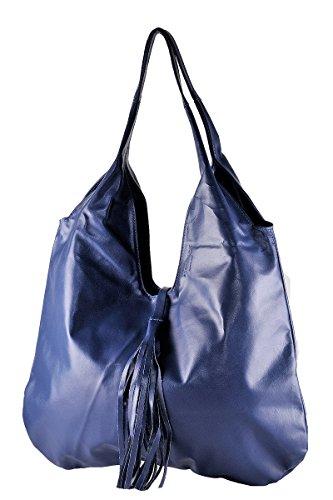 BORDERLINE - 100% Made in Italy - Borsa Sacca da Donna in Vera Pelle - SERENA Blu elettrico