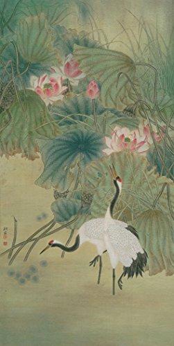 dos-red-crowned-gruas-de-pie-por-lutos-aceite-reprodution-basado-en-chino-tradicional-pintura-realis
