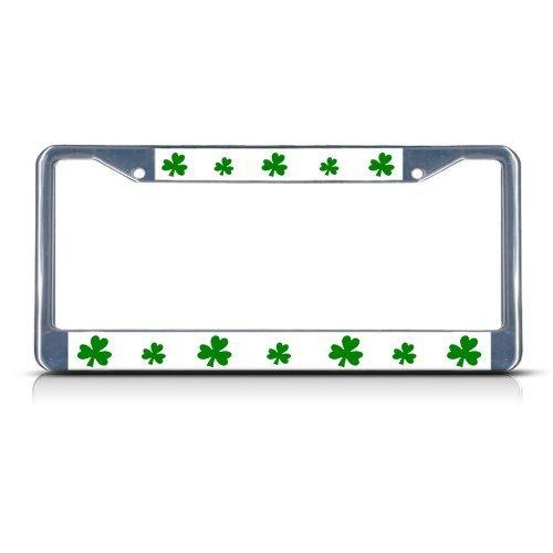 Irish Chrome License Plate Frame (SHAMROCK GREEN IRISH IRELAND Chrome Heavy Duty Metal License Plate Frame by Fastasticdeals)