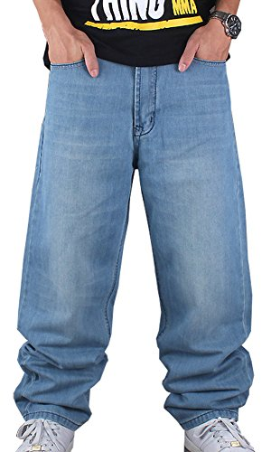 CYSTYLE Herren Hip Hop Jeanshose Blau Hipster Style Baggy Jeans Rap Denim Straight Leg Loose Fit (34) - Hipster Straight Leg Jean