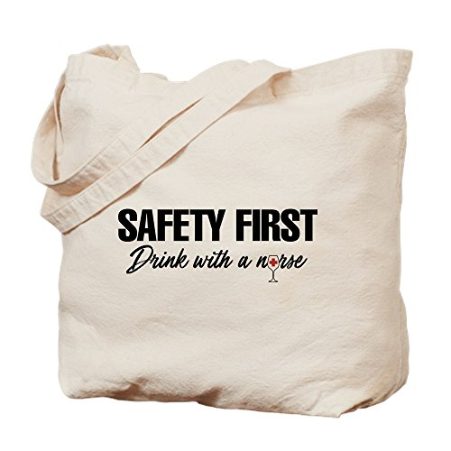 CafePress - Safety First Drink mit A Nurse - Leinwand Natur Tasche, Reinigungstuch Einkaufstasche - Safety First Bag
