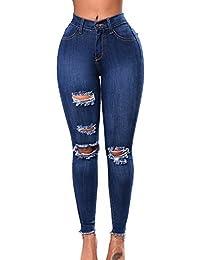 Jeans Troué Genoux Femme Taille Haute En Denim Pantalons Slim Crayon Pantalon