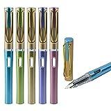 Hillento 5 Pack Füllfederhalter mit Tinte Refill Konverter EF extra feine Feder Stift Mode bunt Executive Business Geschenk Stifte