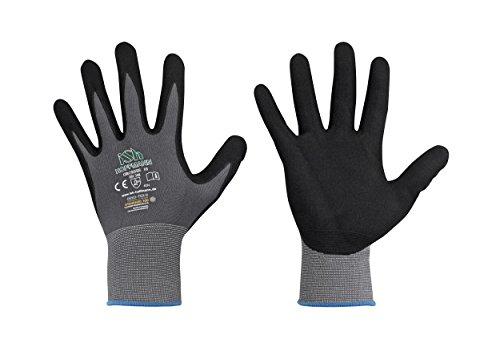 12 Paar ISH Handschuhe Arbeitshandschuhe - robuste Montagehandschuhe Nylon rutschfeste Mechanikerhandschuhe - atmungsaktives Obermaterial - Gr. 6-11 - Gr. 9 (L)