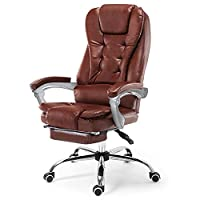Aszhdfihas-home Computer Desk Task Chairs Leather Executive Chair Extra Padded Office Chair Ergonomic Design Adjustable Computer Desk Chair Office Furniture (Color : Brown, Size : 104x49x64cm)