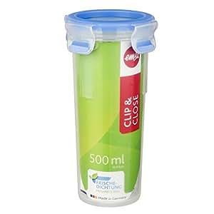 Emsa 508554 Runder Trinkbecher mit Deckel, Volumen 0.5 Liter, Transparent/Blau, Clip & Close