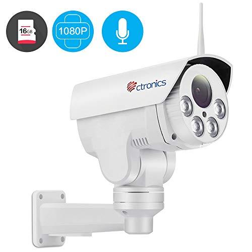 1080P PTZ überwachungskamera WLAN Aussen, Ctronics WLAN IP Kamera WiFi mit 4X Zoom Optisch, 30m Nachtsichtfunktion, Bewegungserkennung, Email Alarm, IP 66 Wasserdicht, 16G SD Karte vorinstalliert