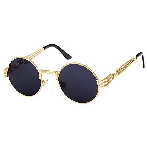 Steampunk Punk Rock Shades Vintage Runde Sonnenbrille (Gold Frame/Grau)