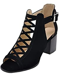 Aisun Damen Sexy High TopTransparent Schnürung Cut Out Peep-Toe Sandalen mit Reißverschluss Schwarz 37 doIrowUYSs