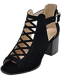 Aisun Damen Sexy High TopTransparent Schnürung Cut Out Peep-Toe Sandalen mit Reißverschluss Schwarz 37