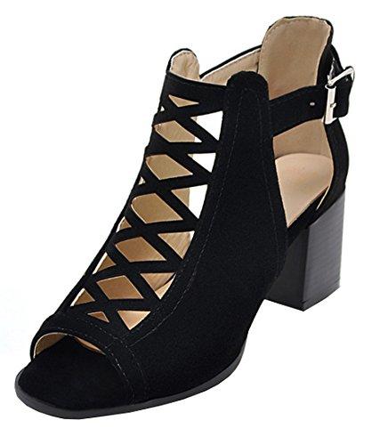 YE Damen Chunky High Heels Peep-Toe Cut Out Sandalen mit Blockabsatz 6cm Absatz Offen Somer Ankle Boots Schuhe (Booties Chunky Damen Heel)