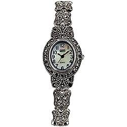 Eton Ladies Marcasite watch, Oval Case, MOP Dial, Antique Finish - 3182L