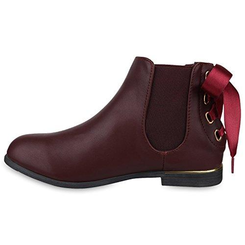 Stiefelparadies Gefütterte Chelsea Boots Damen Stiefeletten Leder-Optik Schuhe Profilsohle Booties Damenschuhe Übergrößen Flandell Dunkelrot