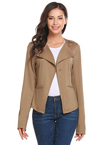 Meaneor Damen Jacke Freizeit Solid Asymmetrische Kurz Blazer Blouson Outwear mit Tasche