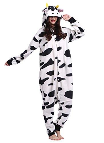 Männer Damen Pyjama Kostüm Overall Plüschoverall Tier Verkleidung für Erwachsene Kuh