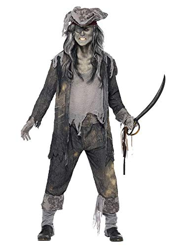 sterschiff Pirat Herren-Kostüm Hose Mantel Hut Untoter Freibeuter Ghoul Geist Halloween Horror, Größe:L ()