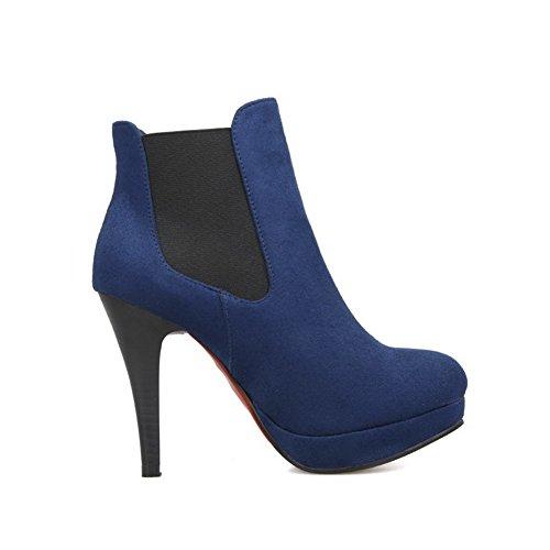VogueZone009 Damen Rein Hoher Absatz Rund Zehe Blend-Materialien Elastic Band Stiefel, Blau, 40