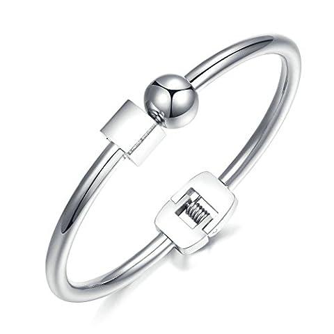 KnSam Femme Acier Inoxydable Bangle Bracelets Haut Poli Carré Rond Rose Or [Nouveauté (Piazza Della Catena Del Serpente Bracciale Catena)