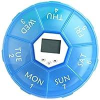 OUNONA Pillendose Tablettenbox 7 Tage mit LED-Licht Pille Erinnerung Mediplanner (Blau) preisvergleich bei billige-tabletten.eu