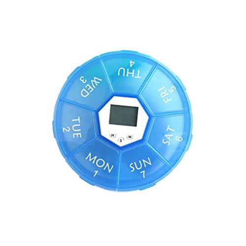 Yardwe Tragbare elektronische Digitale Pillenbox Timer mit Alarm Datumsanzeige Smart Pille Fall Erinnerung (blau) (Timer-pille Fällen)