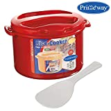 Primeway Microwave Rice Cooker w/Non Stick Magic Rice Paddle Serving Spoon, 2.7 Litre, Red
