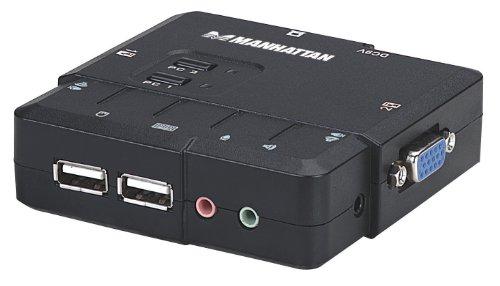 Manhattan 151252 Negro Interruptor KVM - Periférico de Entrada (1600 x 900 Pixeles, USB, USB, VGA, Negro, FCC B, CE)