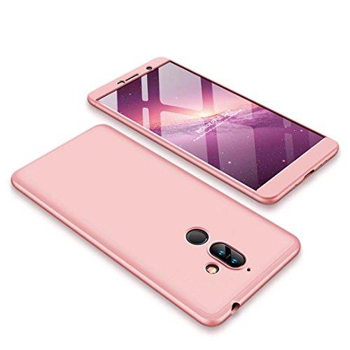 Funda Nokia 7 Plus Oro rosa PC duro 360 grados Cuerpo completo Cubierta protectora Ultrafino Anti-rasguños Parachoque Mate Phone Case 3 in 1 DESCHE-Oro rosa