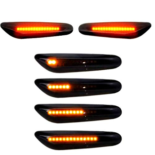 Lumiereholic LED Seitenblinker 2er Pack 16 LED Dynamische Blinkleuchte Blinker Schwarz Smoke Passgenau für E90 E91 E92 E60 E87 E82 E46 SB10
