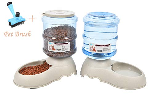 Comederos Automáticos de Alimentos/Fuente de Agua Automática para Perros Gatos y Mascotas-3.75L x 2 Piezas- Cuenco Accesorio Dispensador para Mascotas ( con cepillo para mascotas) (set dispensadors)