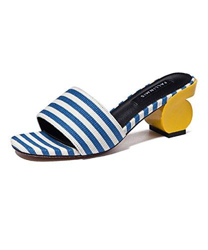 CHAOXIANG Pattini a righe scalare antisdrucciolevoli delle donne dei pantofole delle donne Pattini a scoppio della nuova spiaggia di estate ( Colore : A , dimensioni : EU38/UK5/CN39 ) A