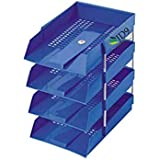 JD9 Office Tray, File Tray, Document Tray, Paper Tray A4 Documents/Files/Papers/Letters/folders Holder Desk Organizer (Blue) (4 Tier)