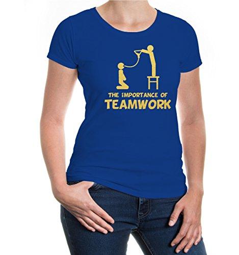 buXsbaum® Girlie T-Shirt The importance of Teamwork Royal-Gold