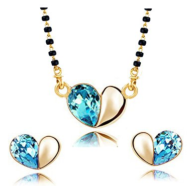 YouBella Jewellery Gold Plated Cute Heart Shaped Crystal Studded Mangalsutra Pendant with Chain and Earrings for Women (Blue)