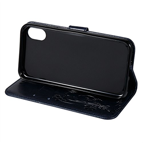 Custodia Per iPhone X, Slynmax Custodia Portafoglio [Cinturino da polso] [Chiusura Magnetica] [Funzione Stand] Modelli A Farfalla in Pelle Stampata in Pelle Con Custodia Di Protezione Completa Con Slo Blu Navy