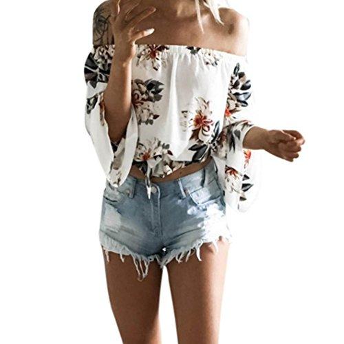 Sweatshirt Damen Kolylong® Frauen Elegant Trägerlos Langarm Bluse mit Blumenmuster Festlich Rückenfreies Oberteil Schulterfrei Off Shoulder Shirt T-Shirt Tunika Tank Tops (M, Weiß) -