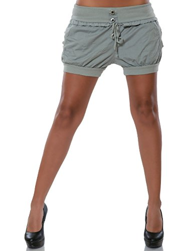 Damen Shorts Chino Hot-Pants Kurze Sommer Hose Luftige Stoffhose in Angesagten Farben No 15655 Grau 42 / XL