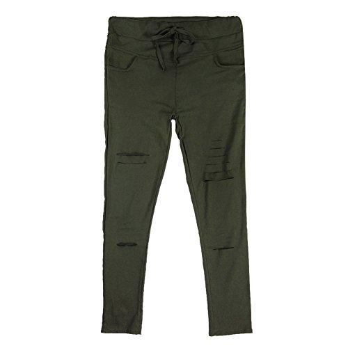 LAEMILIA Frauen Zerrissen Ripped Hose mit hohe Taille Stretch Skinny Bleistifthose Leggings Grün