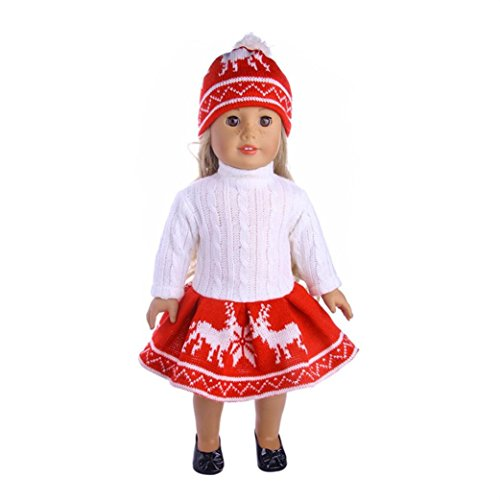 3pc puppe kleidung , YUYOUG Snuggly Cute Pullover Outfit Rentier Schneemann Pullover & Cap FüR 18 Zoll American Girl Doll Und Andere 43-46 Cm Puppen (Rot)