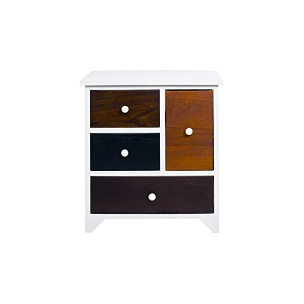 Rebecca Mobili Bathroom Storage Unit, Chest of Drawers 4 Drawers, Paulownia Wood Mdf, Brown White, Vintage Retro Kitchen – Dimensions: 52 x 47 x 33 cm (HxWxD) - Art. RE4338 Rebecca Mobili Stylish forniture with white wooden shelf and 4 brown drawers. Really suitable and easily adaptable to your entrance, living room, bedroom and also perfect your kitchen. Urban style, new design, really original. Add a touch of color to your home with the cabinet of REBECCA ATLANTIC line Size: H 52 cm X L 47 cm X W 33 cm Size: 1 drawer H 26,5 cm x W 15,5 cm x D 28 cm - 1 drawer H 12,5 cm x W 40,5 cm x D 28,5 cm - 2 drawers H 12,5 cm x W 23 cm x D 28,5 cm 1