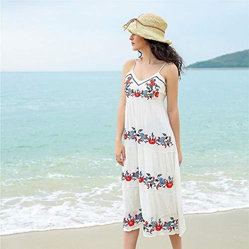 BMKWSG-LIANYIQUN Sommer Damen Kleid am Meer Urlaub Gurt Kleid Bestickt Strand Rock weiblich weiß L - Sommer Bestickt Rock
