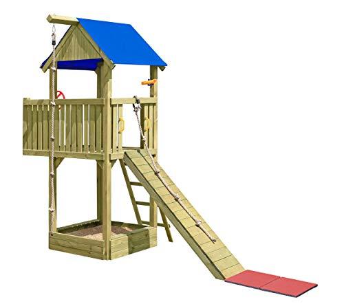 Gartenpirat Spielturm Abenteuer mit Balkon, Klettersteg, Seil und viel Zubehör