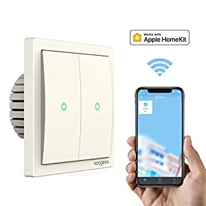 Koogeek Wi-Fi Abilitato Smart Light Switch 220 ~ 240V Funziona con Apple HomeKit Support Telecomando Siri One-way Single Pole Wall Switch su 2,4 GHz Network Monitor Consumo di Energia Beige (TWO GANG SWITCH)