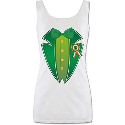 cks Day - Leprechaun Kobold Kostüm - XL - Weiß - P72 - Lang-Geschnittenes Tanktop für Damen (Irische Kostüme Für Frauen)