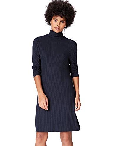 FIND Vestido de Canalé con Cuello Alto para Mujer, Blau (Blue), 40